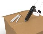 Hotmelt lijm in de vorm van een staafje aangebracht met lijmpistool